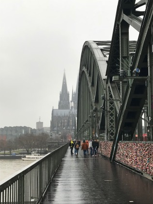 Cologne cathedral in the background at the lock bridge